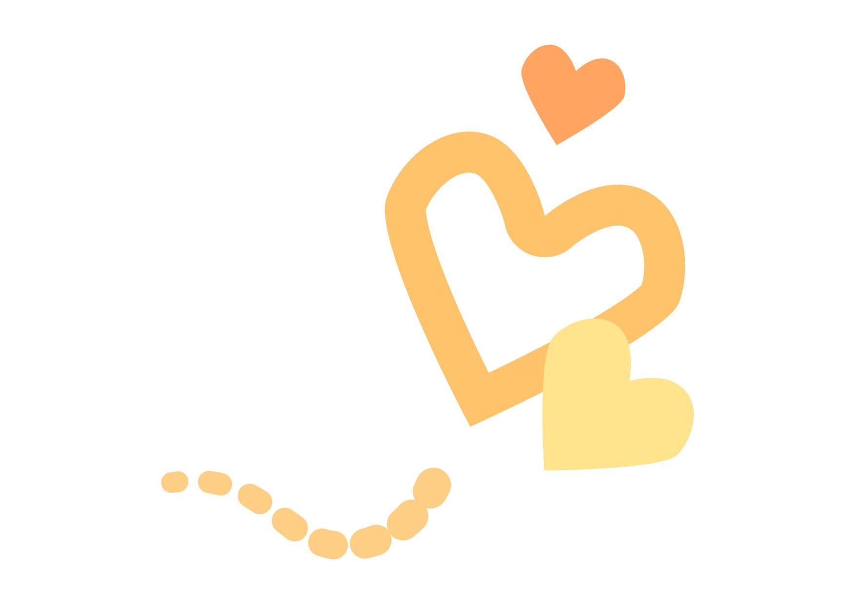 可愛いイラスト無料|ハート 飛ぶ 黄色 − free illustration  Heart fly yellow