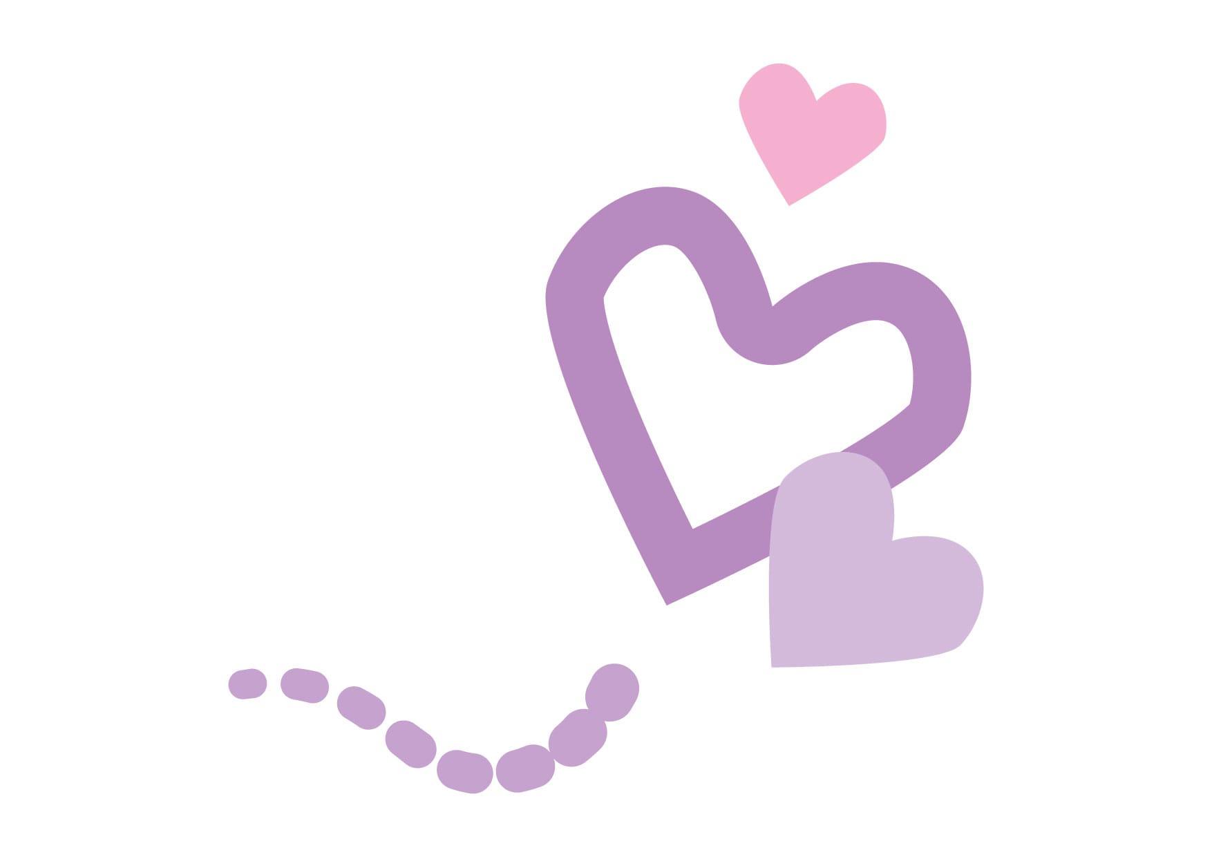 可愛いイラスト無料|ハート 飛ぶ 紫色 − free illustration Heart fly purple