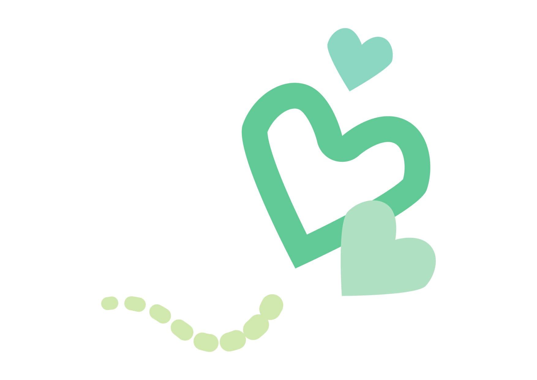 可愛いイラスト無料|ハート 飛ぶ 緑色 − free illustration  Heart fly green