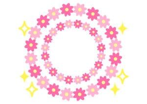 花 フレーム ピンク キラキラ イラスト 無料