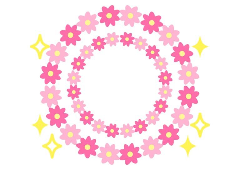 花 フレーム ピンク キラキラ イラスト 無料 無料イラストのイラスト