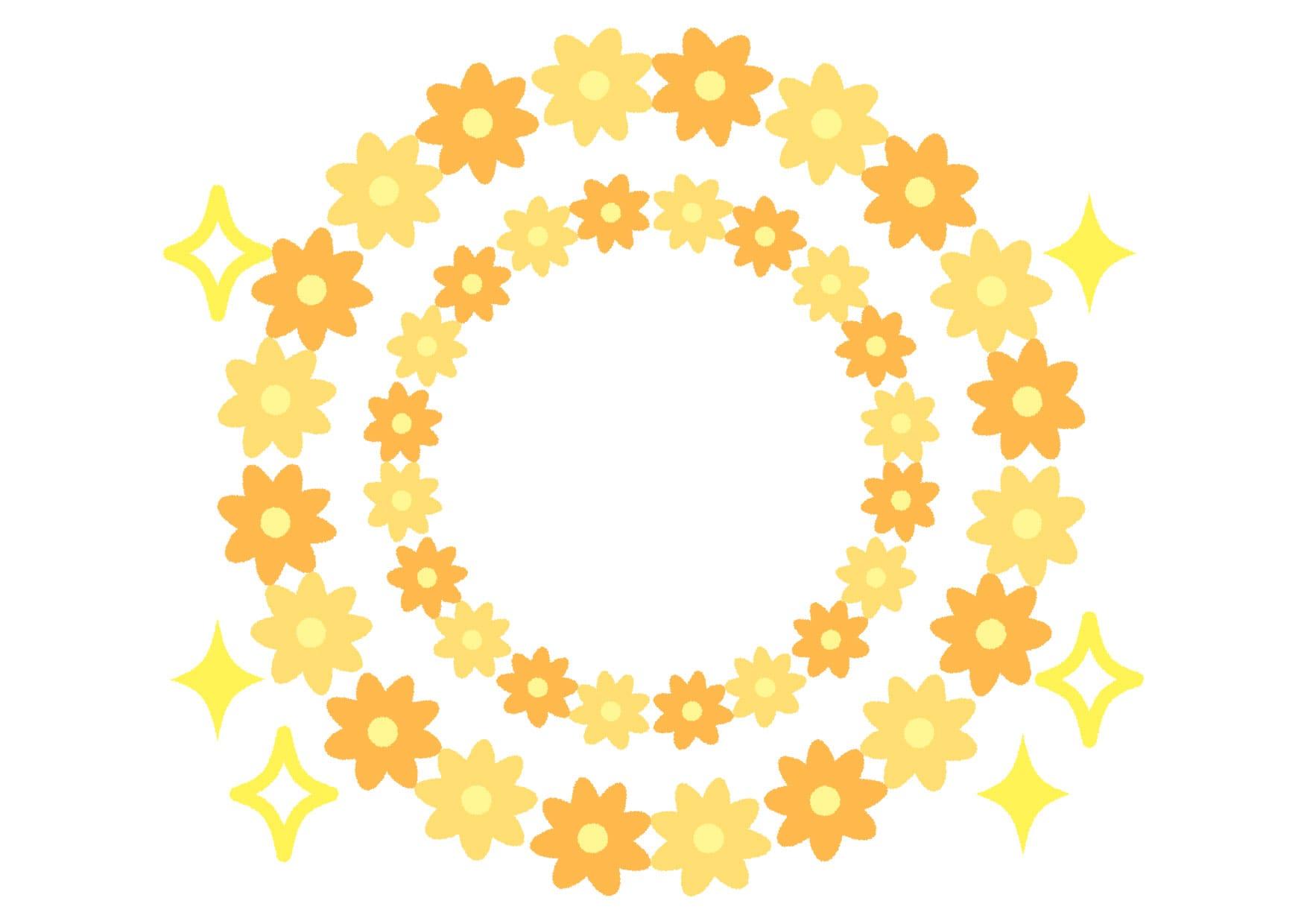 花 フレーム 黄色 キラキラ イラスト 無料