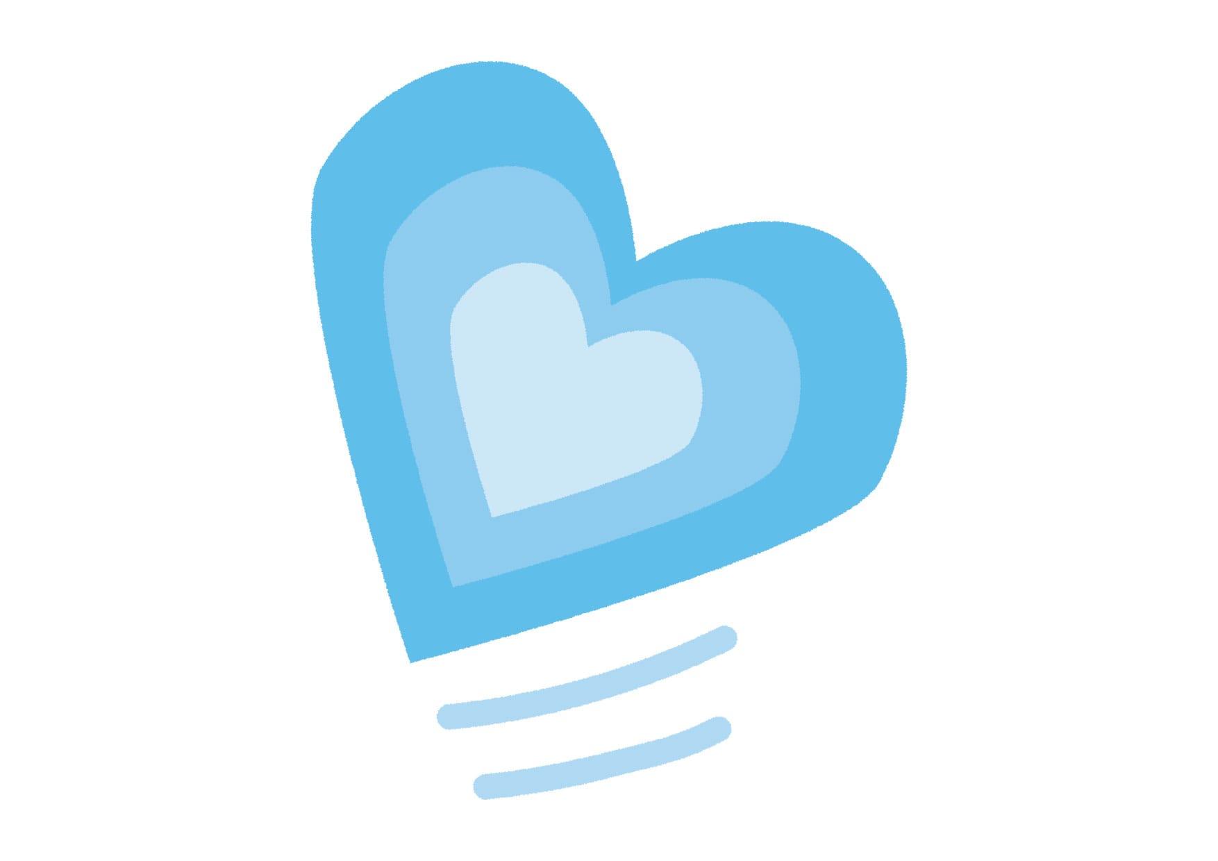 可愛いイラスト無料|グラデーション ハート 青色 − free illustration  Gradient heart blue