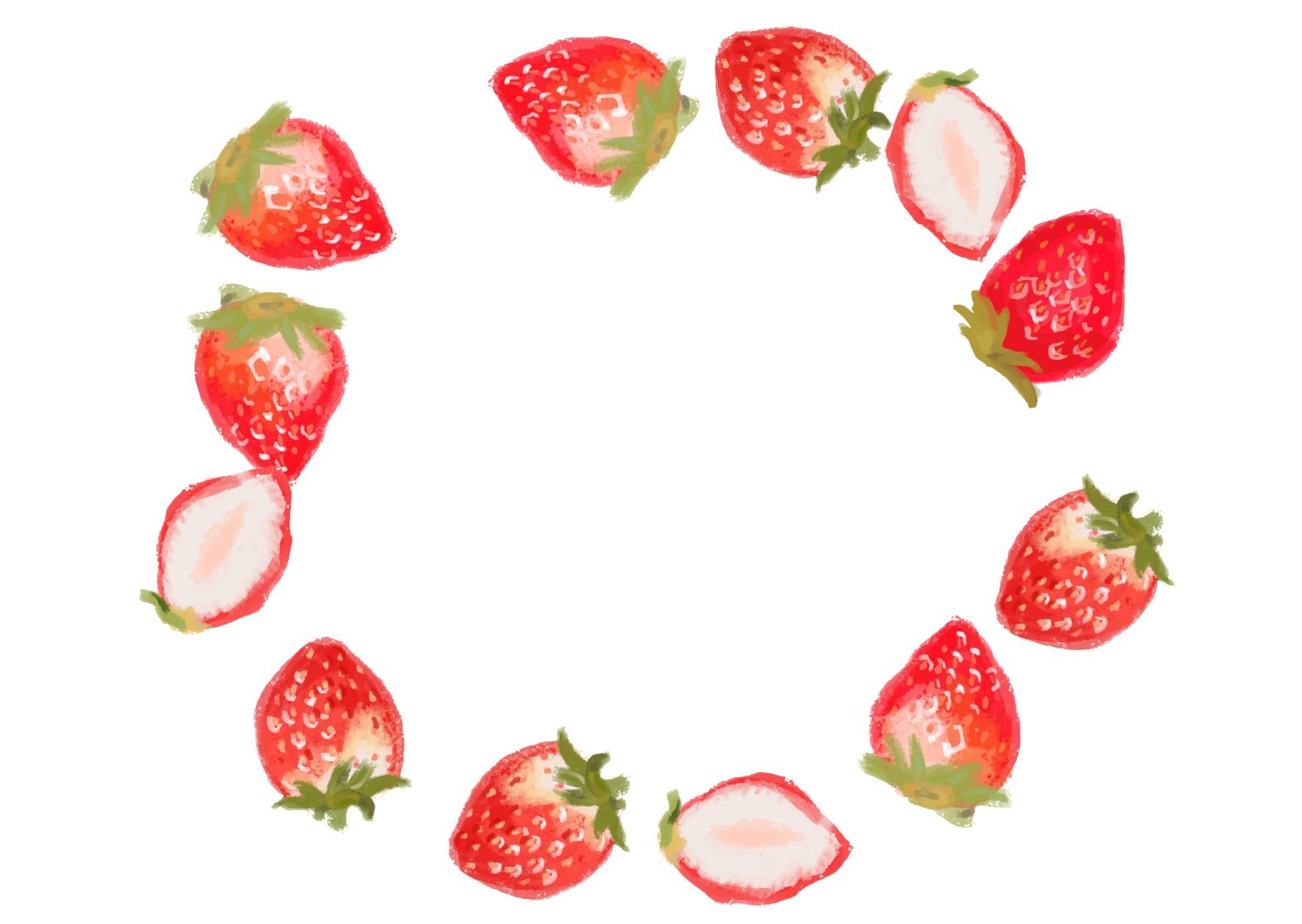 可愛いイラスト無料|手書き いちご フレーム − free illustration  Handwritten strawberry frame