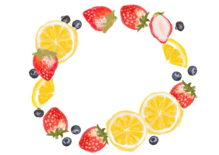 手書き いちご オレンジ ブルーベリー 円フレーム イラスト 無料2