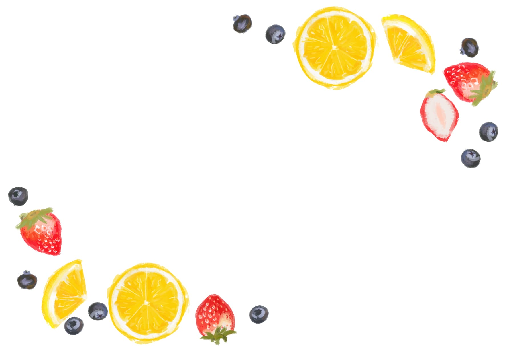 おしゃれなイラスト|手書き いちご オレンジ ブルーベリー 背景
