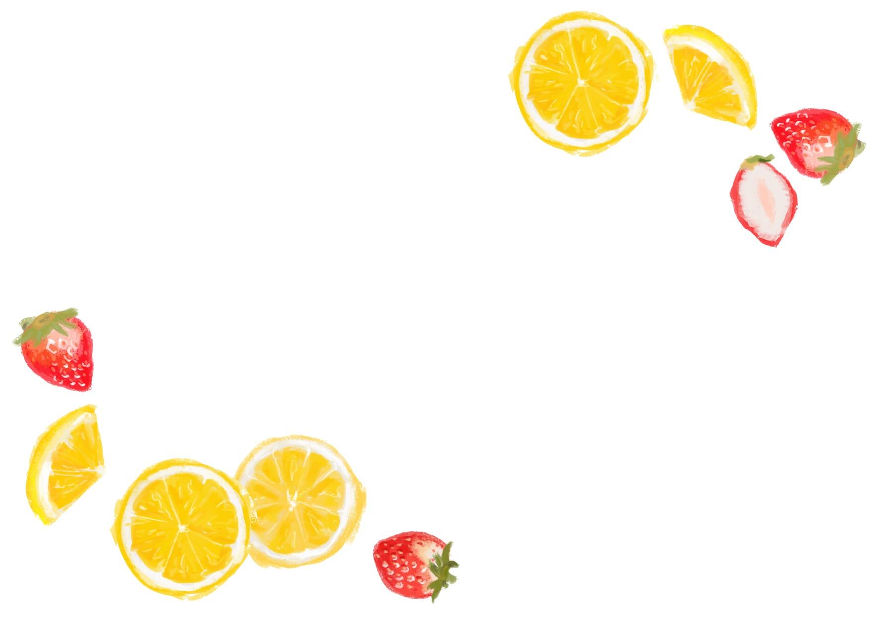手書きイラスト無料|手書き いちご オレンジ 背景