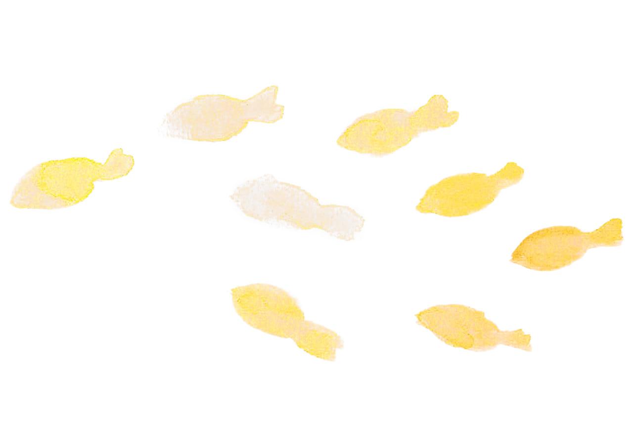 可愛いイラスト|水彩 金魚 黄色