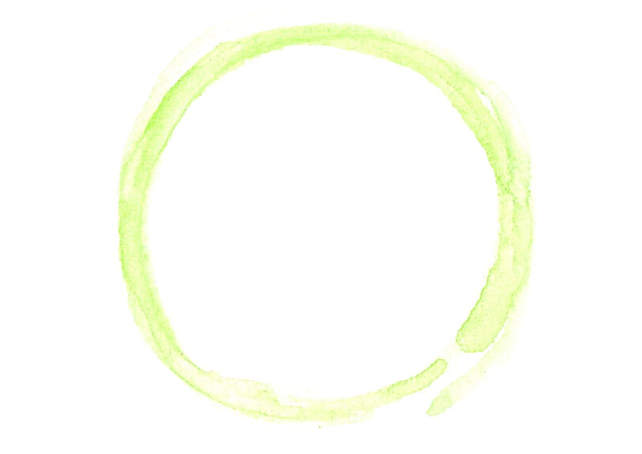 可愛いイラスト無料|水彩 背景 円 線 黄緑色