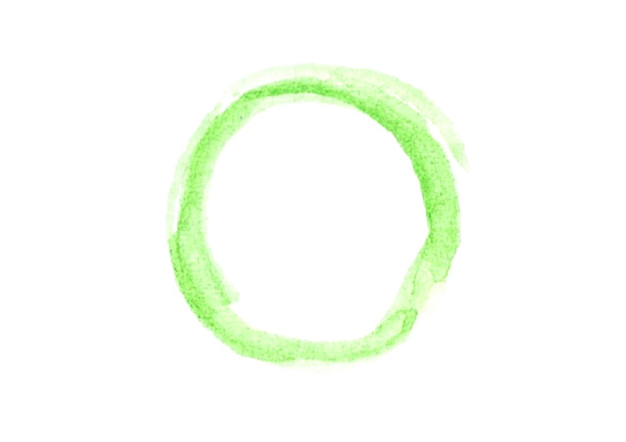 可愛いイラスト無料|水彩 背景 円 線 黄緑色 小