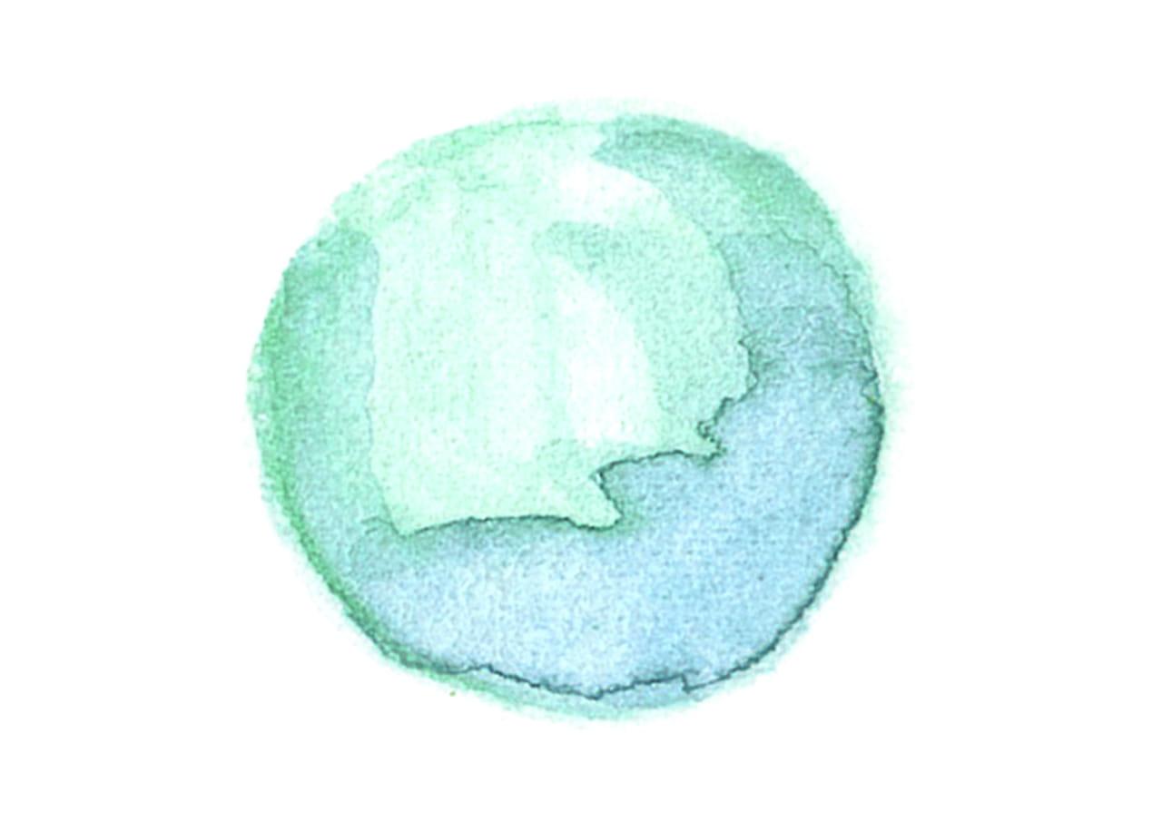 可愛いイラスト無料|水彩 背景 円 緑色 光沢 にじみ