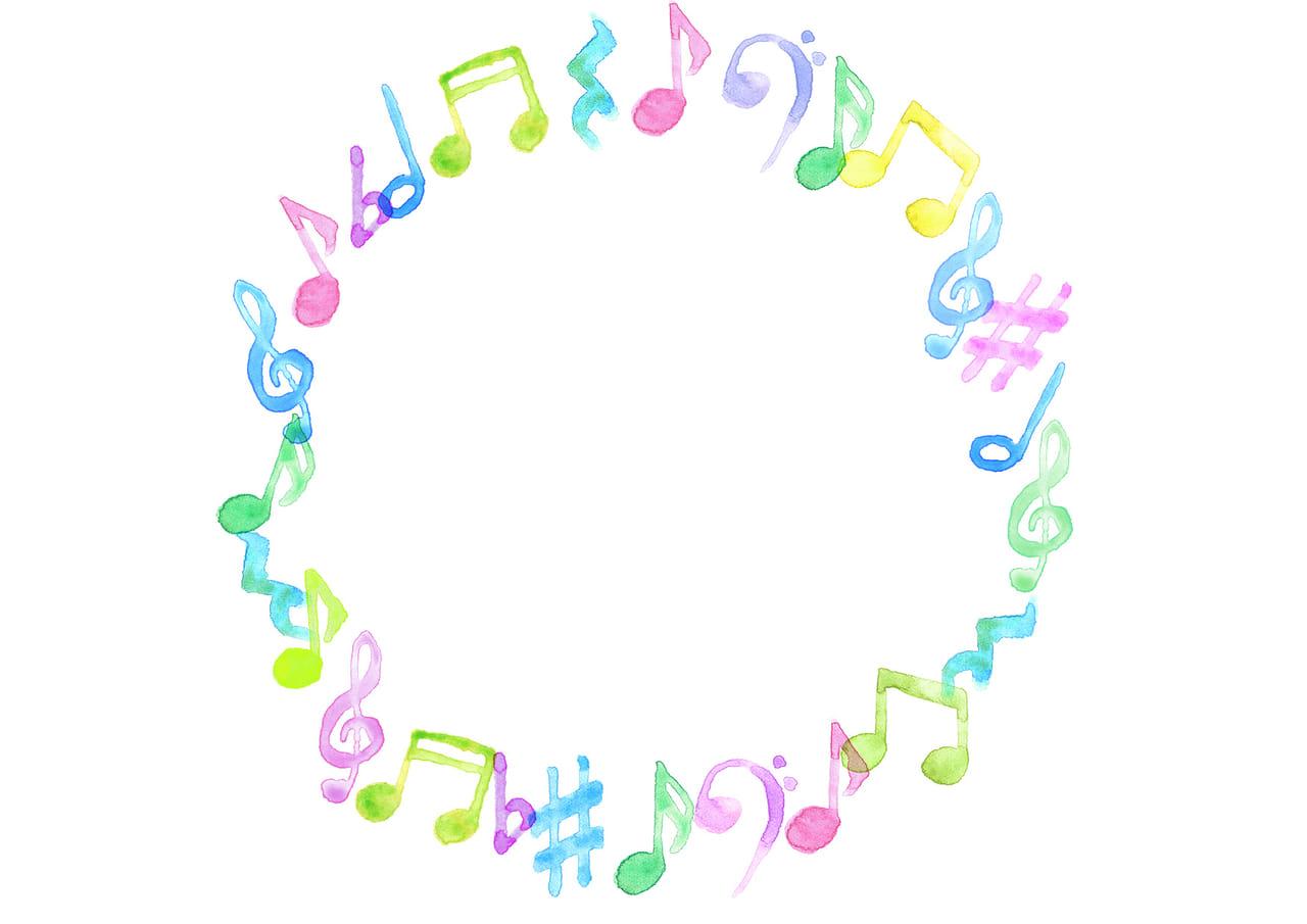 可愛いイラスト無料|音符 音楽 フレーム