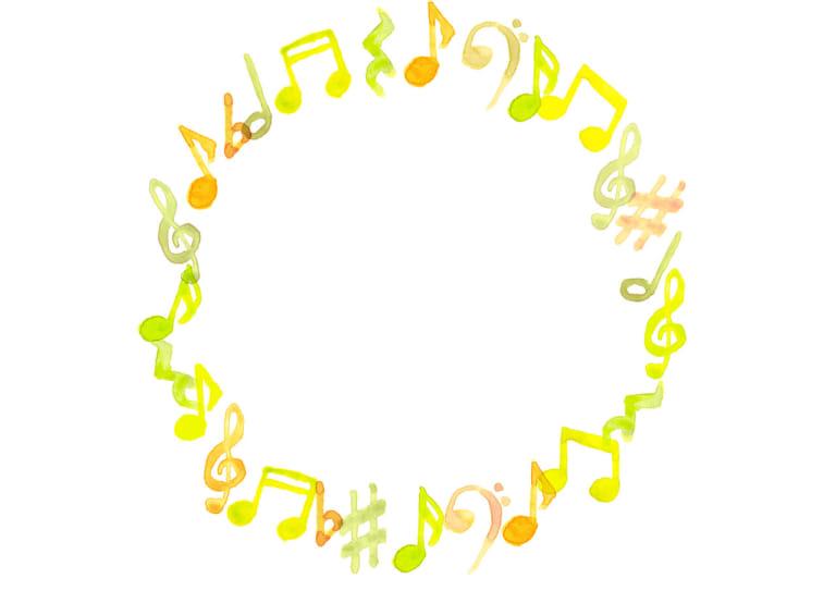 音符 音楽 フレーム 黄色 イラスト 無料