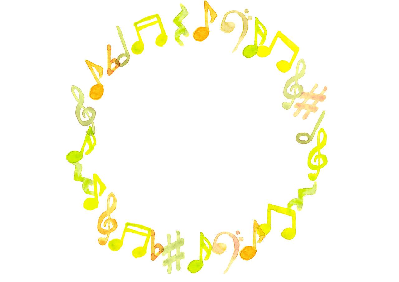 可愛いイラスト無料|音符 音楽 フレーム 黄色
