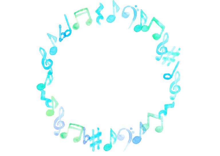 音符 音楽 フレーム 青色 イラスト 無料