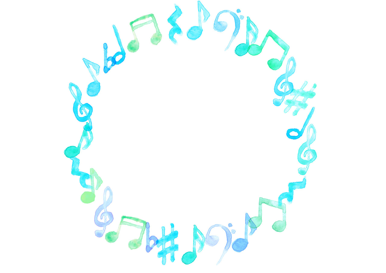可愛いイラスト無料|音符 音楽 フレーム 青色