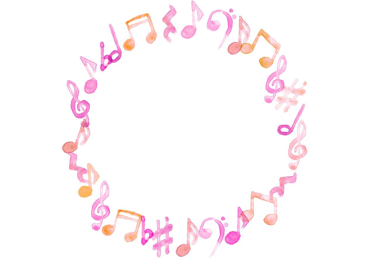 可愛いイラスト無料|音符 音楽 フレーム ピンク色