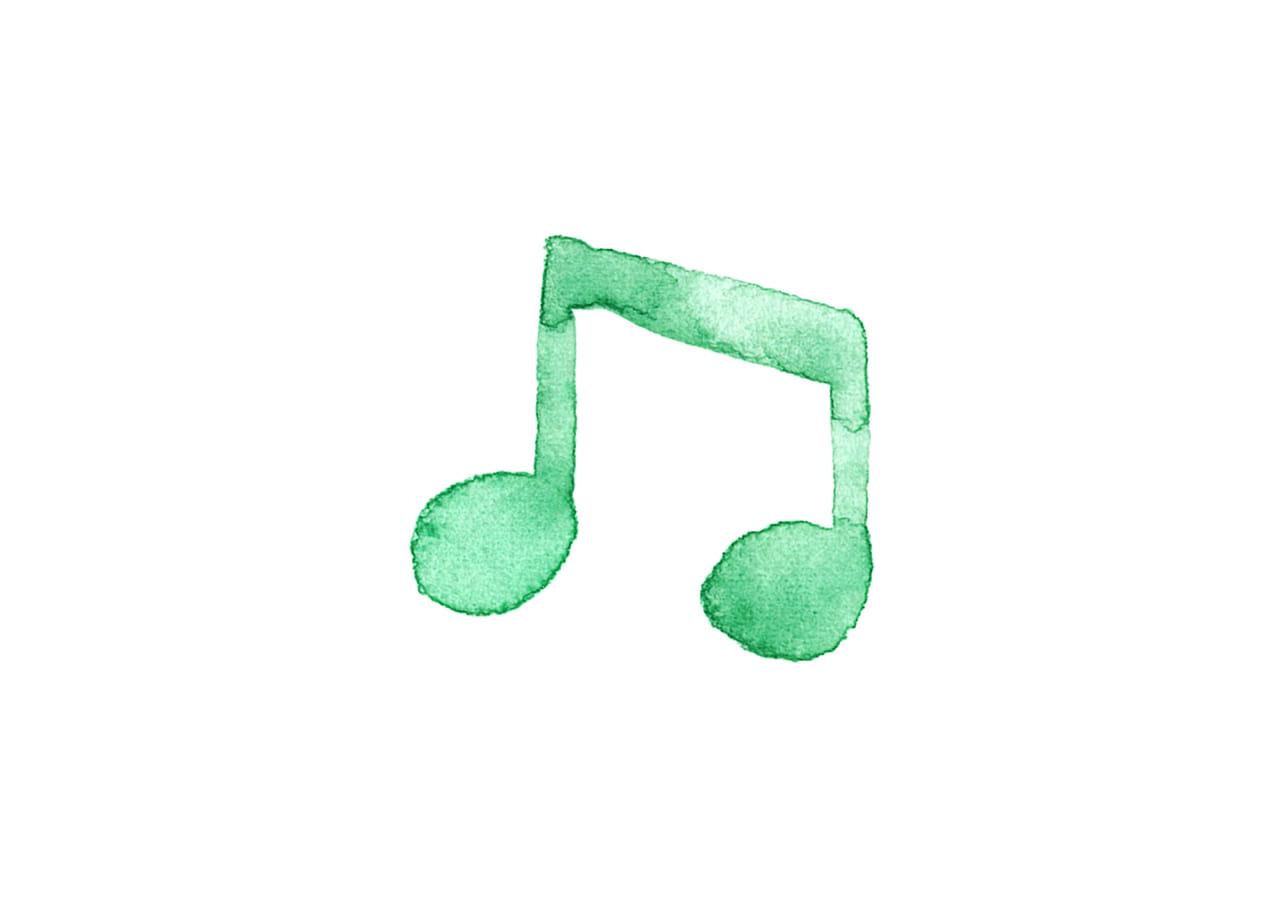 可愛いイラスト無料|音符 音楽 8分音符 緑色