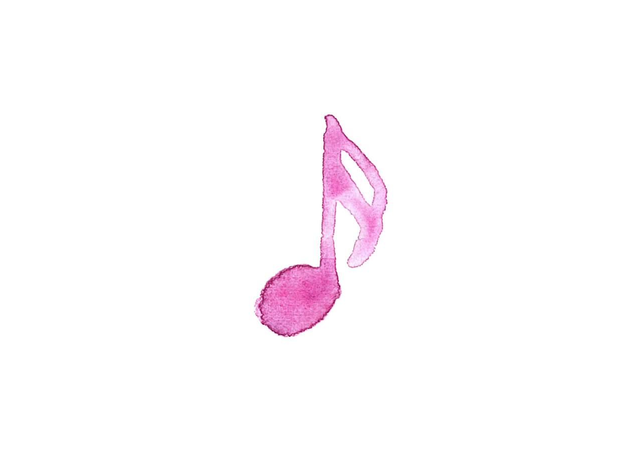 可愛いイラスト無料|音符 音楽 16分音符 ピンク色