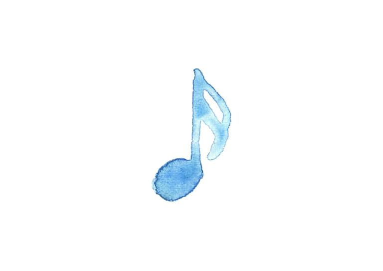 音符 音楽 16分音符 水色 イラスト 無料