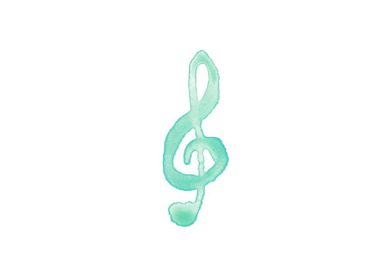 音符 音楽 ト音記号 緑色 イラスト 無料