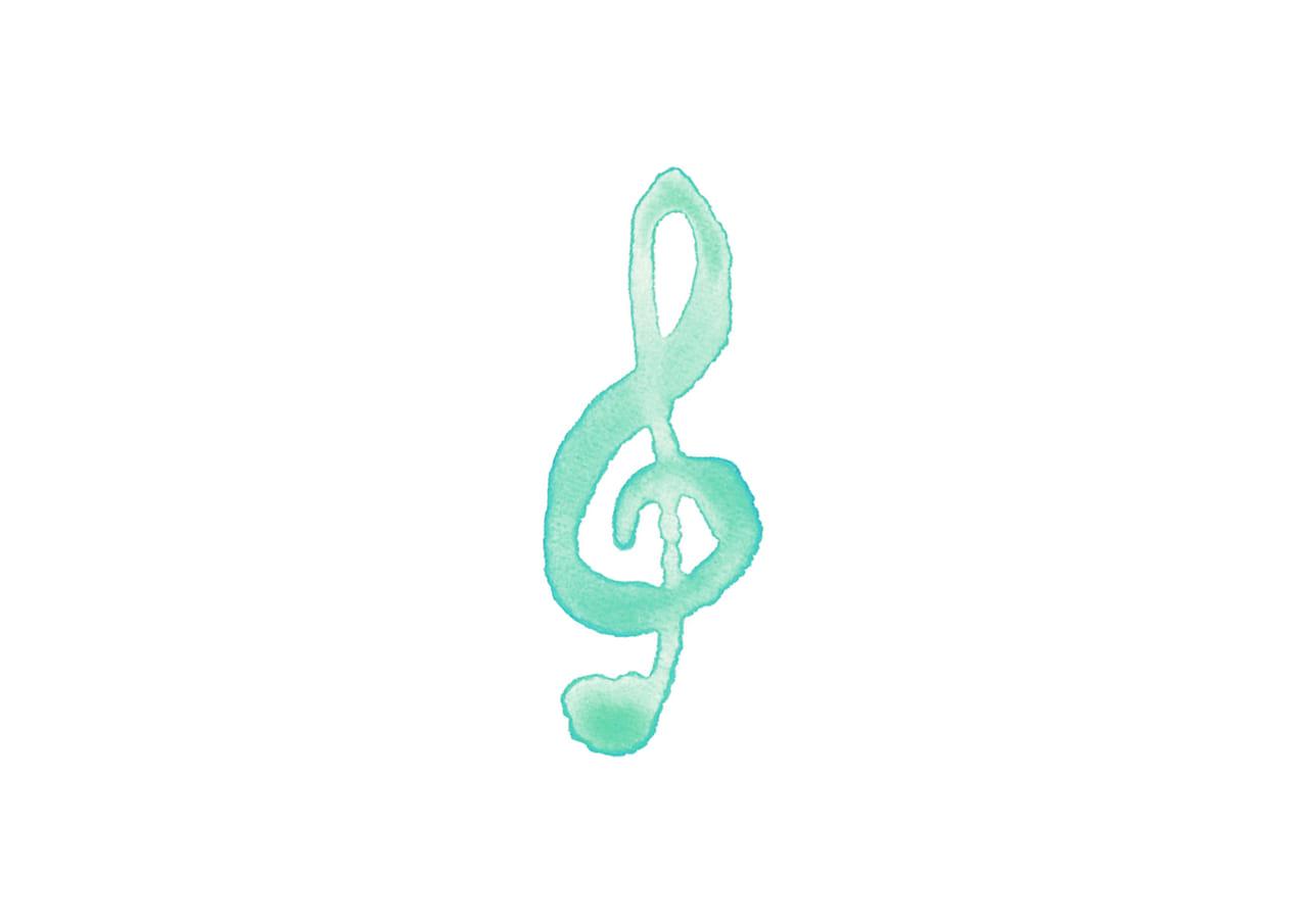 可愛いイラスト無料|音符 音楽  ト音記号 緑色