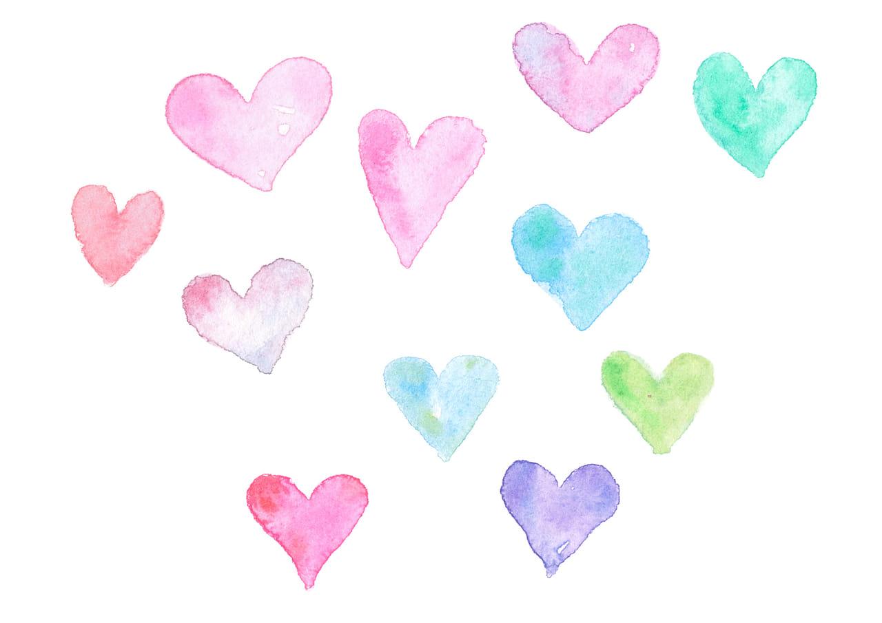 可愛いイラスト無料|水彩 ハート カラフル いっぱい