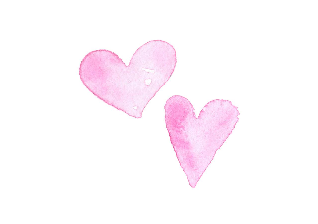 可愛いイラスト無料|水彩 ハート ピンク色 2つ