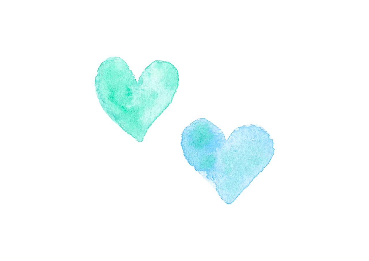 可愛いイラスト無料|水彩 ハート 青色 2つ