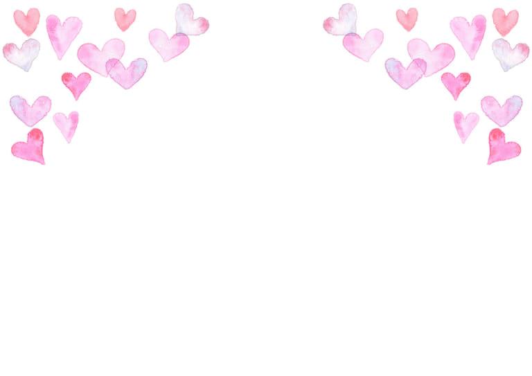 水彩 ハート 背景 上部 ピンク色 イラスト 無料