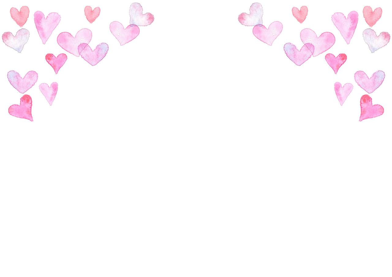 手書きイラスト無料|水彩 ハート 背景 上部 ピンク色