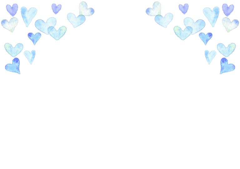 水彩 ハート 背景 上部 青色 イラスト 無料