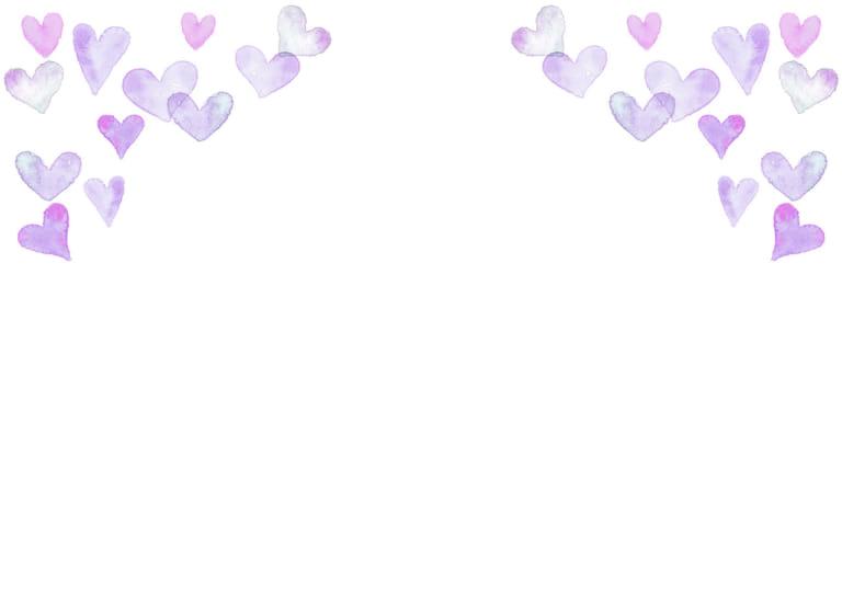 水彩 ハート 背景 上部 紫色 イラスト 無料