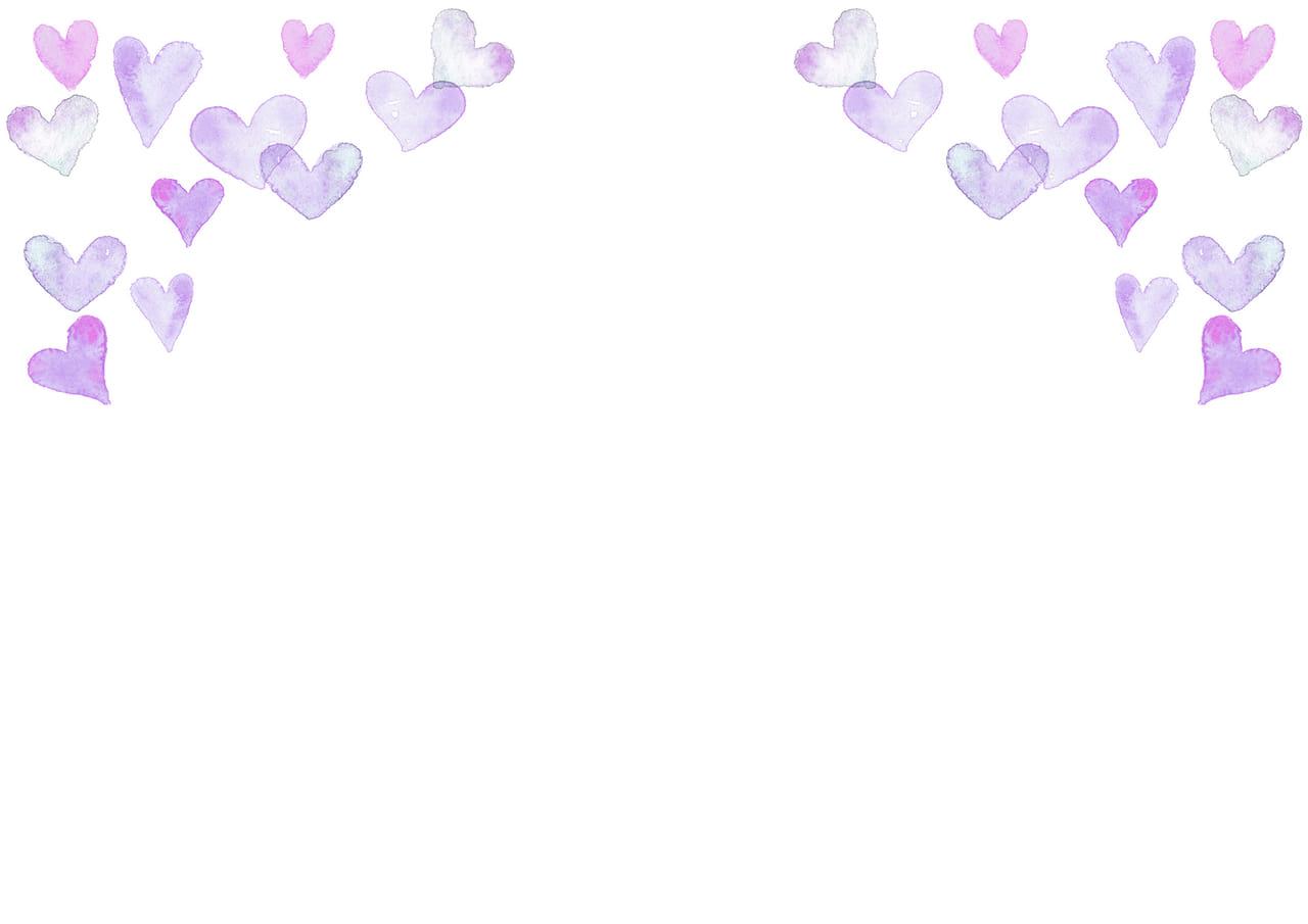 手書きイラスト無料|水彩 ハート 背景 上部 紫色