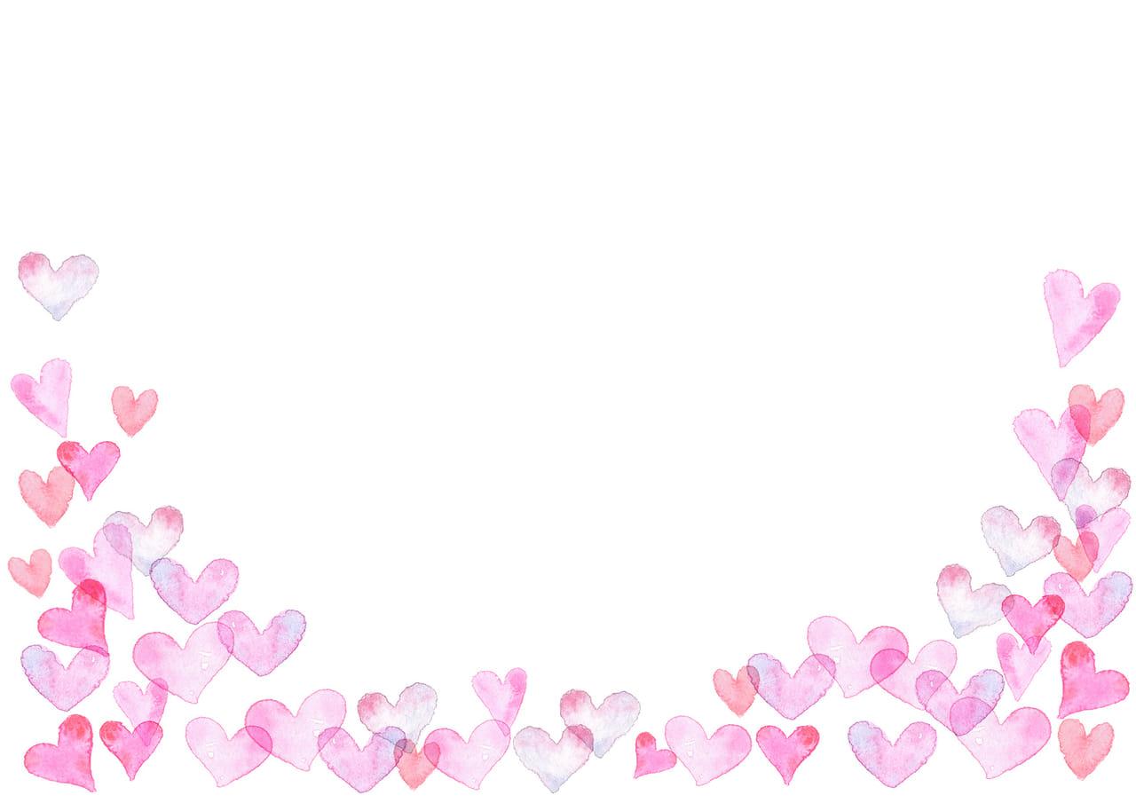 手書きイラスト無料|水彩 ハート 背景 下部 ピンク色