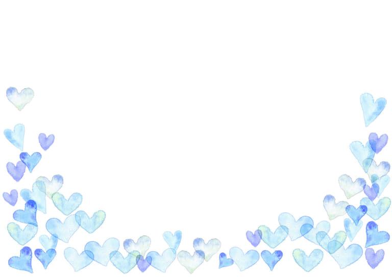 水彩 ハート 背景 下部 青色 イラスト 無料