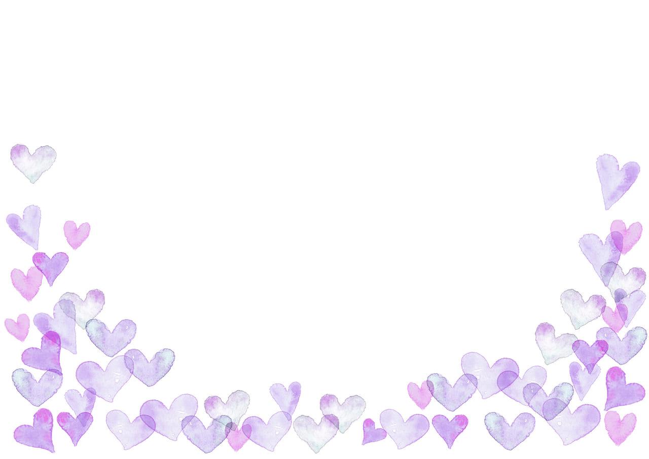 手書きイラスト無料|水彩 ハート 背景 下部 紫色
