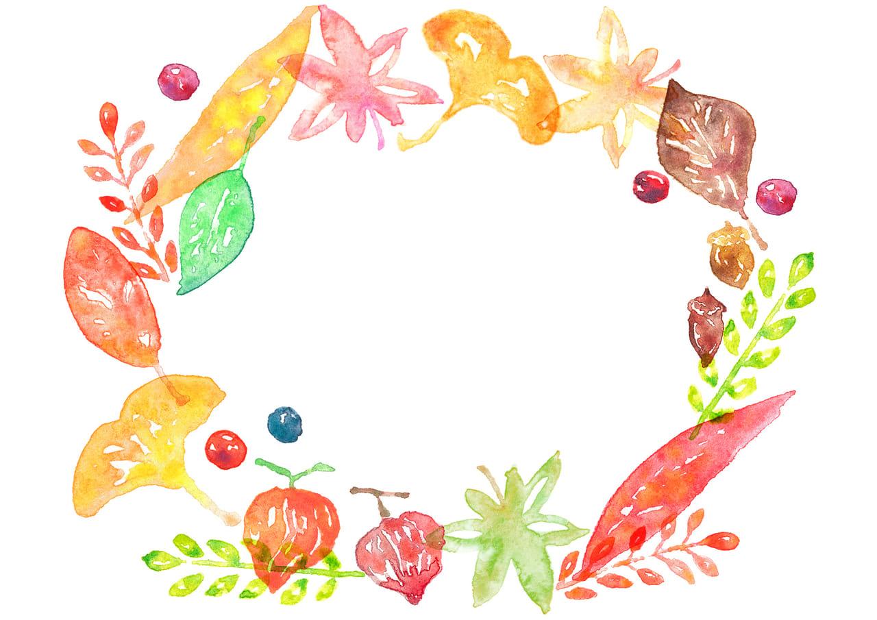 水彩 秋 紅葉 フレーム イラスト 無料 | イラストダウンロード