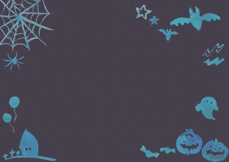 水彩 ハロウィン 背景 紺色 イラスト 無料