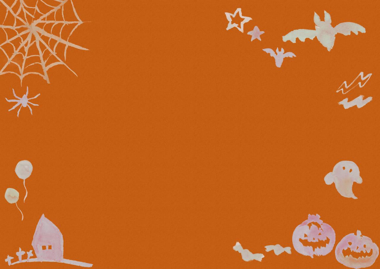 可愛いイラスト無料|水彩 ハロウィン 背景 オレンジ色