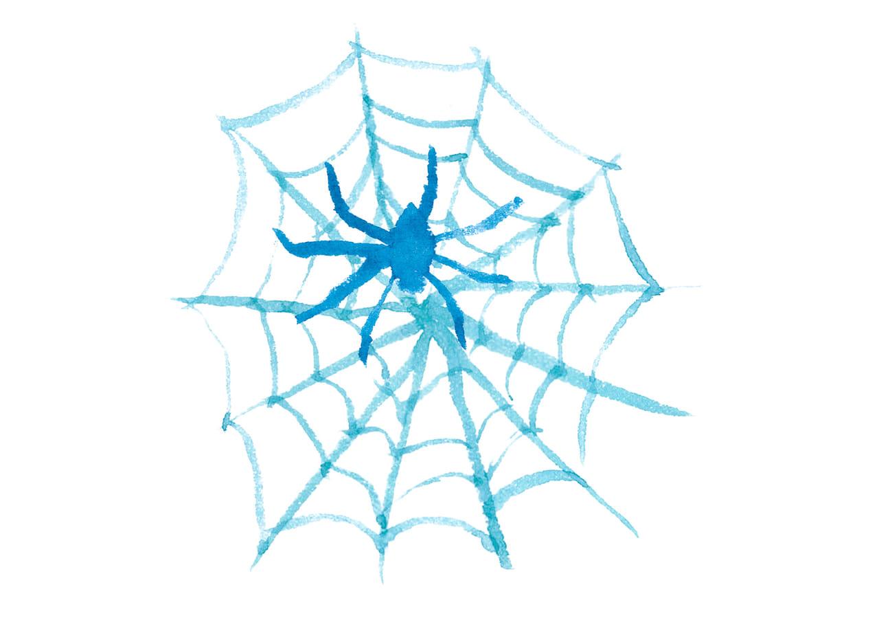 可愛いイラスト無料|水彩 ハロウィン 蜘蛛