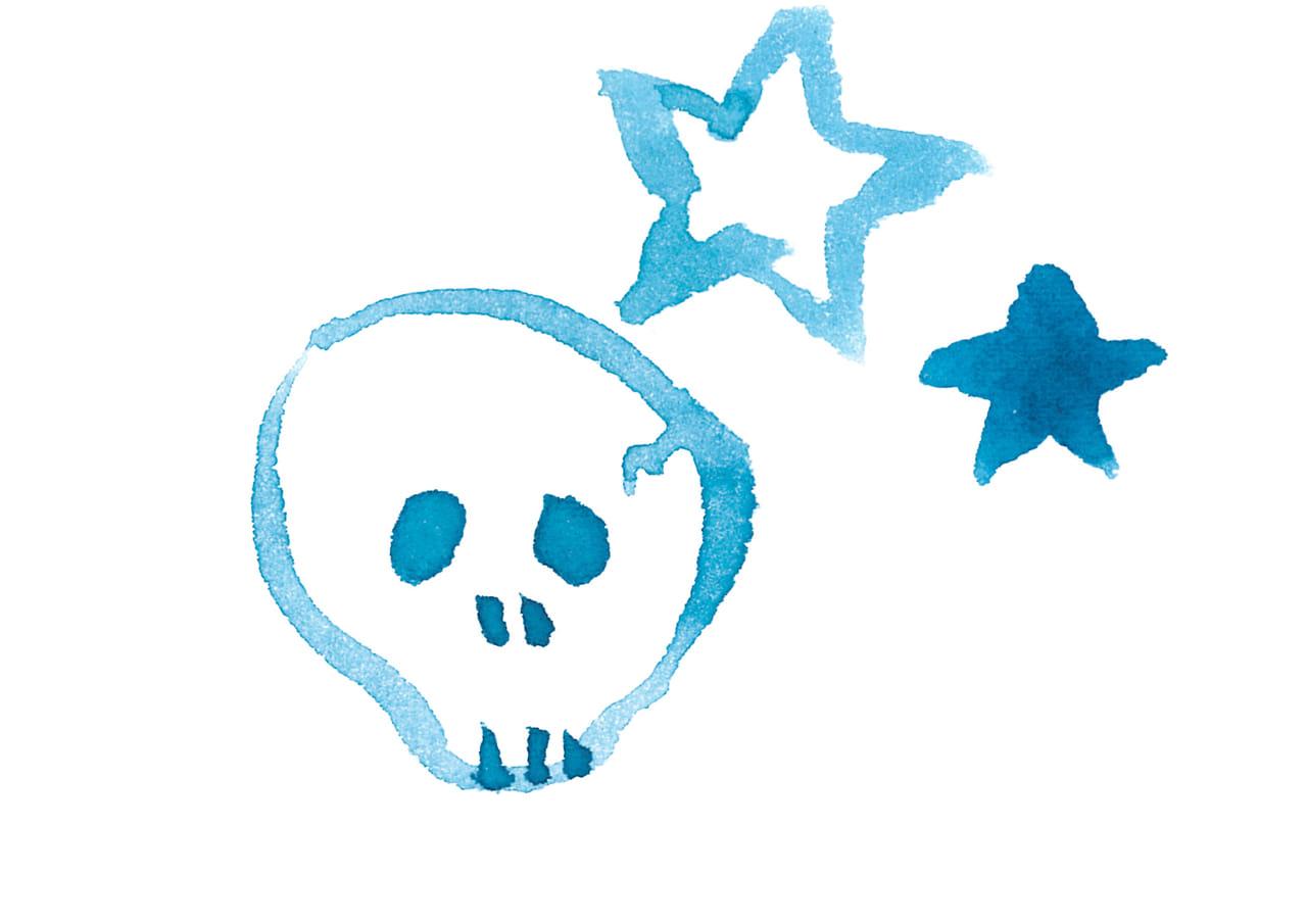 可愛いイラスト無料|水彩 ハロウィン 骸骨 星