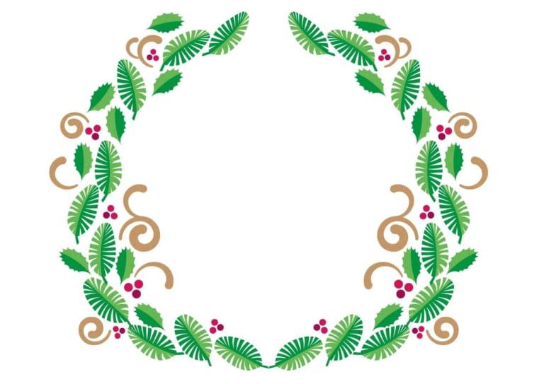 クリスマス ひいらぎ リース イラスト 無料