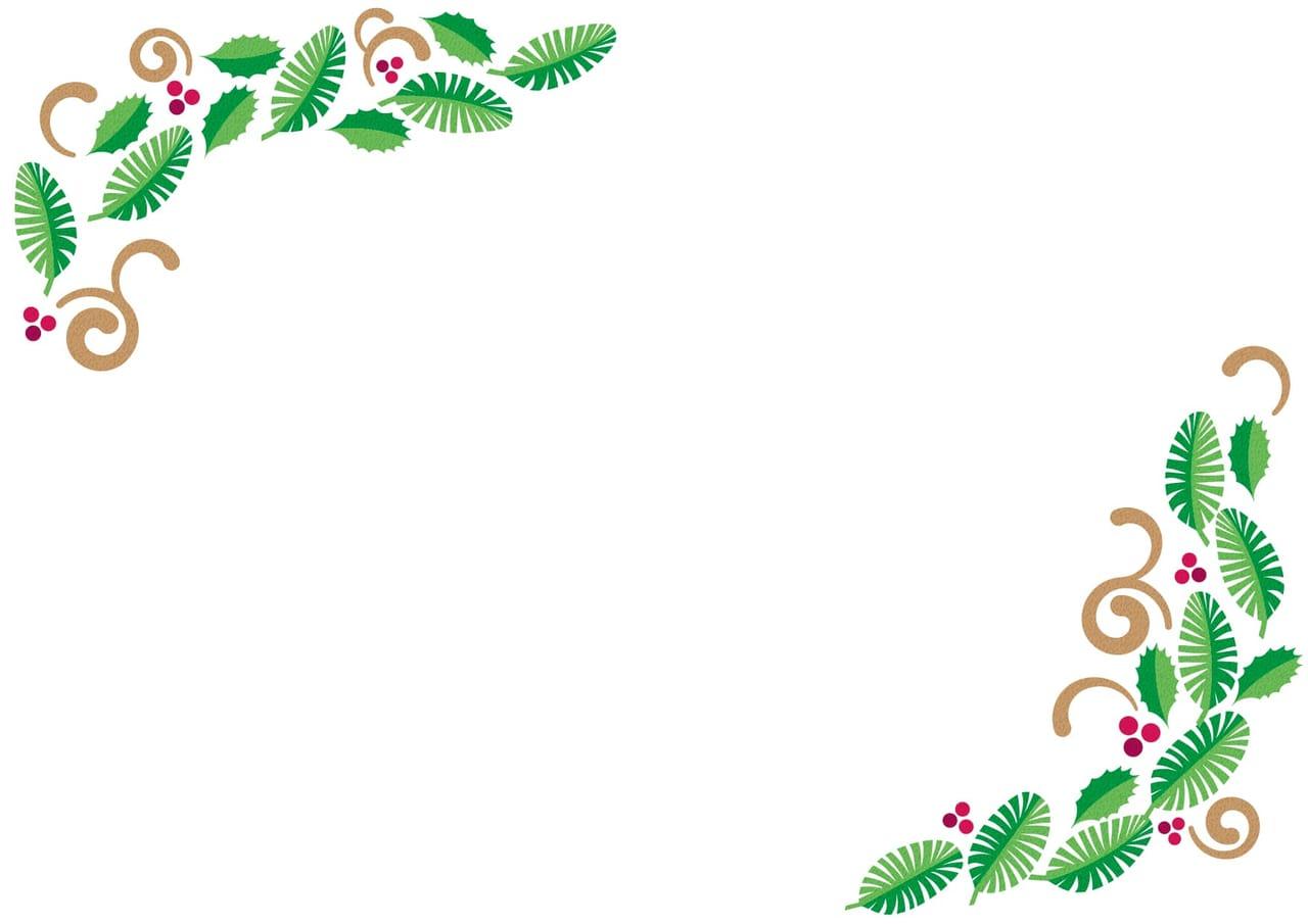 手書きイラスト無料|クリスマス ひいらぎ フレーム