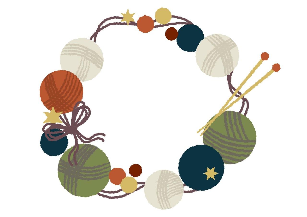 可愛いイラスト無料 冬 円フレーム 毛糸 公式 イラスト素材サイト イラストダウンロード