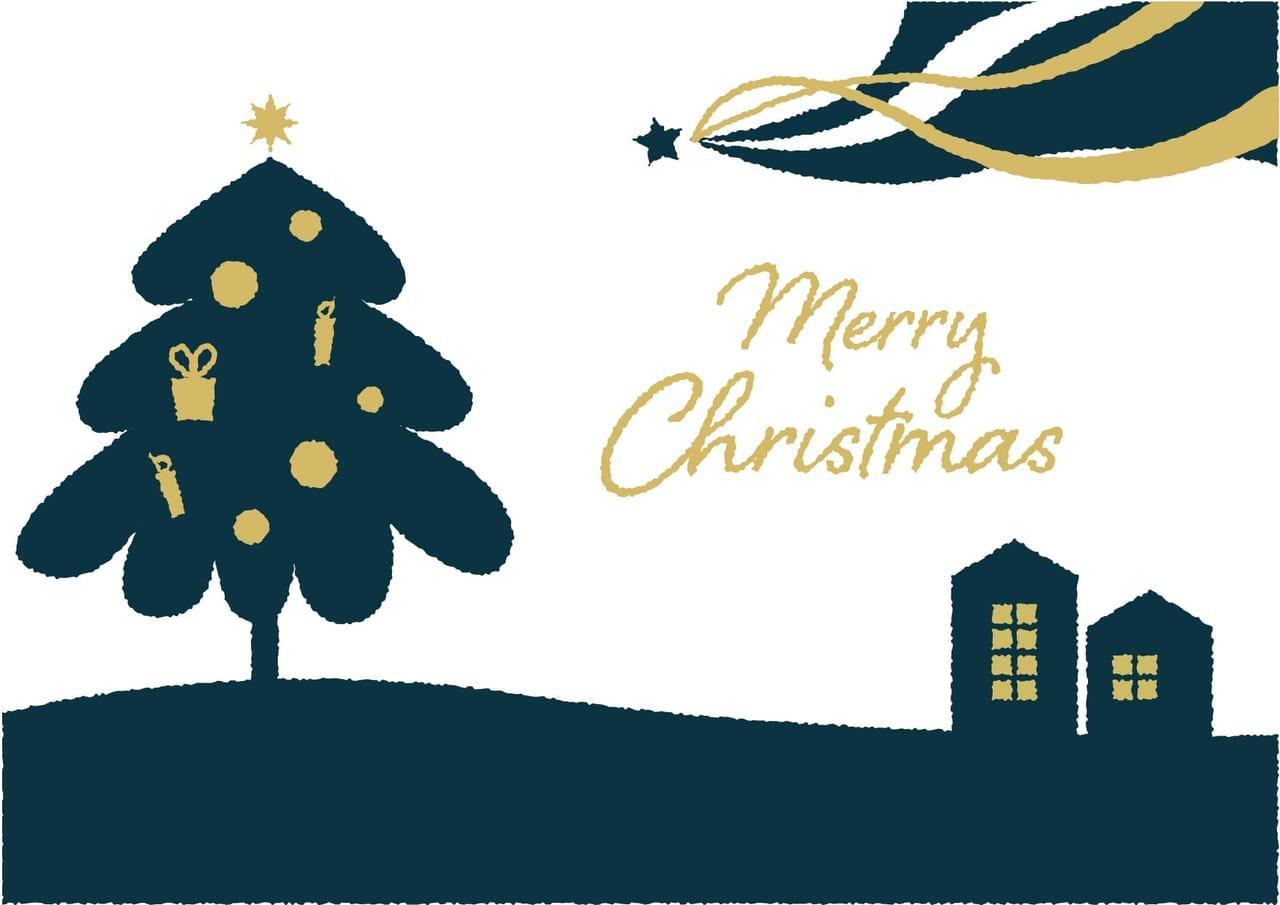 可愛いイラスト無料|クリスマスツリー 流れ星 ポスター