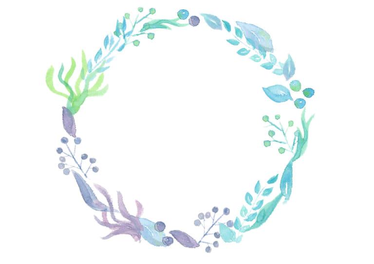 水彩 葉っぱ 円フレーム 青色 イラスト 無料