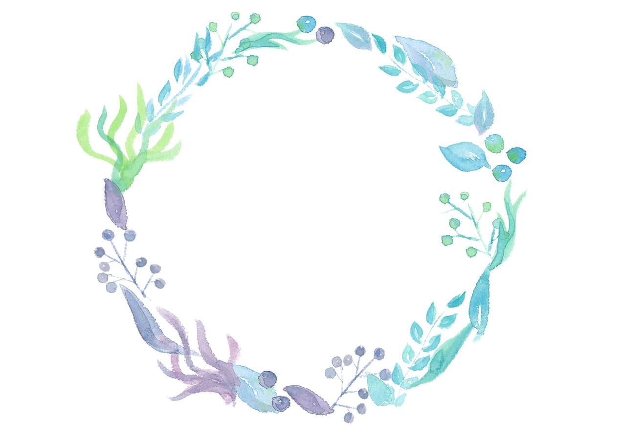 手書きイラスト無料|水彩 葉っぱ 円フレーム 青色