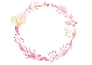 水彩 葉っぱ 円フレーム ピンク色 イラスト 無料