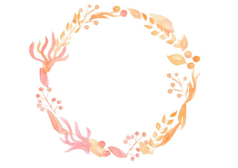 水彩 葉っぱ 円フレーム 黄色 イラスト 無料
